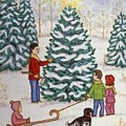 Cutting Our Tree Art Print