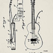 Cw Russell Acoustic Electric Guitar Patent 1939 Art Print