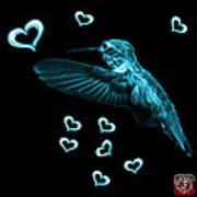 Cyan Hummingbird - 2055 F M Art Print