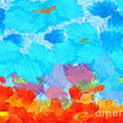 Cyan Landscape Print by Pixel Chimp