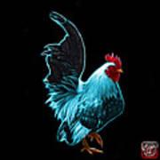 Cyan Rooster Pop Art - 4602 - Bb - James Ahn Art Print