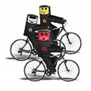 Cycling Recycle Bins Art Print