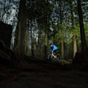 Cyclist In Mountain Forest Art Print