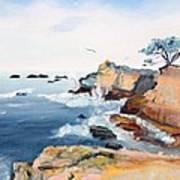 Cypress And Seagulls Art Print