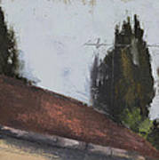 Cypress Tree And Roof Top Art Print