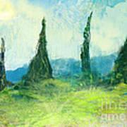 Cypress Trees On A Hill Side Art Print