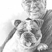 Dad And Dog Pencil Portrait  Art Print