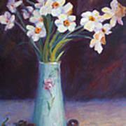 Daffodils And Cherries Art Print