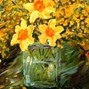 Daffodils And Forsythia Art Print by Barbara Pirkle