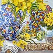 Daffodils Antique Jugs Plates Textiles And Lace Art Print