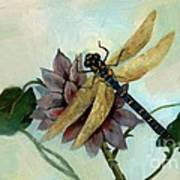 Dahlia With Dragonfly Resting Art Print