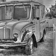 Dairy Truck - Old Rosenbergers Dairies - Black And White Art Print