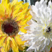 Daisies And Sunflowers - Impressionistic Art Print