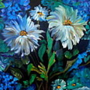 Daisies At Midnight Art Print