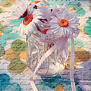 Daisies In Pot 02c - Du Bonheur En Pot Art Print