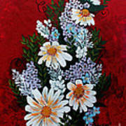 Daisies Lilacs And Forget Me Nots Art Print