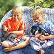 Dakotas Puppies Art Print