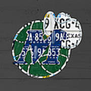 Dallas Mavericks Basketball Team Retro Logo Vintage Recycled Texas License Plate Art Art Print
