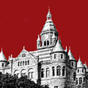 Dallas Skyline Old Red Courthouse - Dark Red Art Print by DB Artist