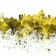Dallas Skyline In Yellow Watercolor On White Background Art Print
