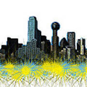 Dallas Skyline Art Print