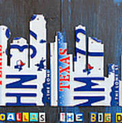 Dallas Texas Skyline License Plate Art By Design Turnpike Art Print by Design Turnpike
