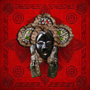 Dan Dean-gle Mask Of The Ivory Coast And Liberia On Red Leather Art Print