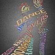 Dance Lovers Silhouettes Typography Art Print