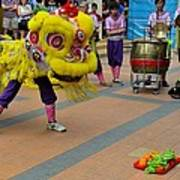 Dance Troupe Performs Chinese Lion Dance Singapore Art Print