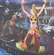 Dancer Laxmi Dancing On The Boat Art Print