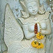 Dancing Aspara At Temple Of The Dawn/wat Arun In Bangkok-thailan Art Print