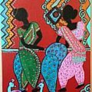 Dancing Girls - Folk Art  Art Print
