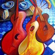 Dancing Guitars Art Print