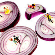 Dancing On Onoin Slices Little People On Food Art Print