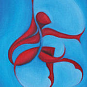 Dancing Sprite In Red And Turquoise Art Print