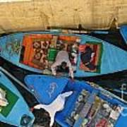Dangerous Manouvers At The Nile River Canal Locks Art Print