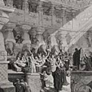 Daniel Interpreting The Writing On The Wall Art Print by Gustave Dore