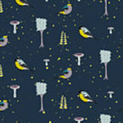 Dark Blue Forest Seamless Pattern With Art Print