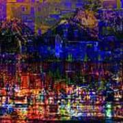 Dark City Lights Cityscape Art Print