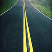Dark Foggy Country Road Art Print by Edward Fielding