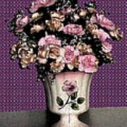 Dark Ink Vase And Flowers Art Print
