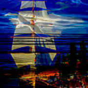 Dark Moonlight With Sails And Seagull Art Print