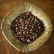 Dark Roast Coffee Beans And Antique Silver Art Print