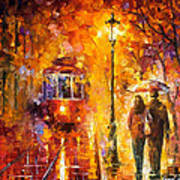 Date By The Trolley - Palette Knife Oil Painting On Canvas By Leonid Afremov Art Print