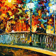 Date On The Bridge - Palette Knife Oil Painting On Canvas By Leonid Afremov Art Print