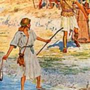 David And Goliath Art Print by William Henry Margetson