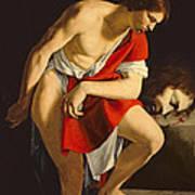 David Contemplating The Head Of Goliath Art Print