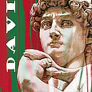 David - Michelangelo - Stylised Modern Drawing Art Sketch  Art Print