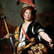 David With The Head Of Goliath, C.1636 Oil On Canvas Art Print