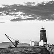Davit And Lighthouse On A Breakwater Art Print